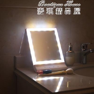 臺式LED燈梳妝鏡桌面公主鏡 帶燈發光書桌鏡子梳妝臺化妝鏡 麥琪精品屋