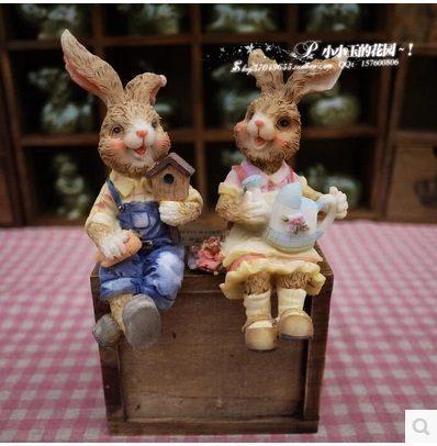 【夢幻童話:愛慕的情侶兔子】可愛家居飾品工藝品