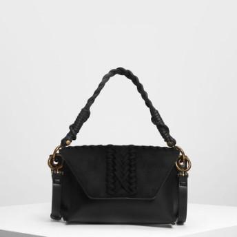 テクスチャーフロントフラップバッグ / Textured Front Flap Bag (Black)