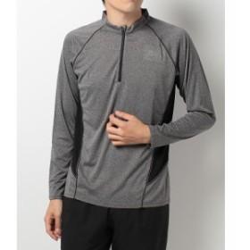 【セール】 ランパスポート ランニング メンズ長袖Tシャツ カチオン杢ジップ長袖T RP-F17-302-029 メンズ グレー
