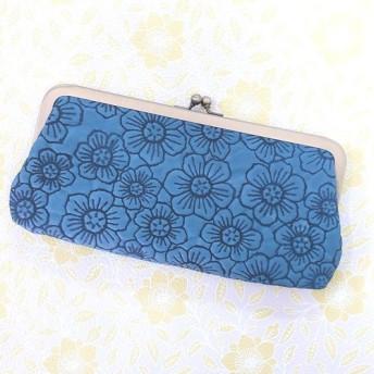 CU116BL 長財布 革財布 ソフトレザー 花 フラワー ブルー 母の日 かわいい がま口 通帳 革 クラッチ