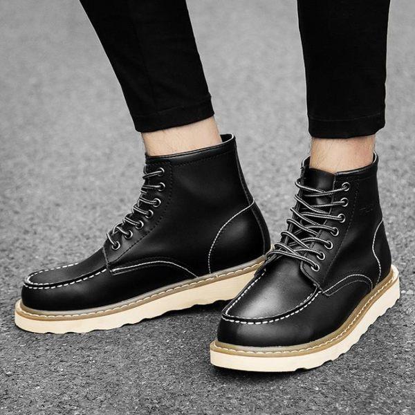 618大促春季休閑工裝靴男馬丁鞋高幫英倫潮男靴子增高短靴透氣百搭單皮鞋