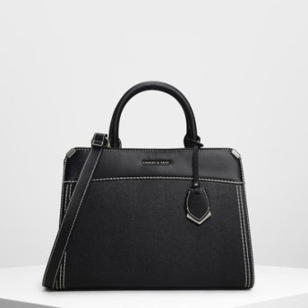 メタルエッジ クラシックハンドバッグ / Metal-edged Classic Handbag (Black)