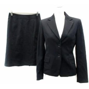 【中古】コムサデモード スーツ セットアップ 上下 ジャケット 総裏地 スカート ひざ丈 無地 ウール 7 黒 ブラック レディース