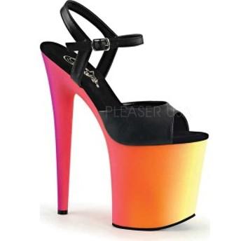 プリーザー レディース サンダル シューズ Rainbow 809UV Ankle Strap Black Faux Leather/Neon Multi