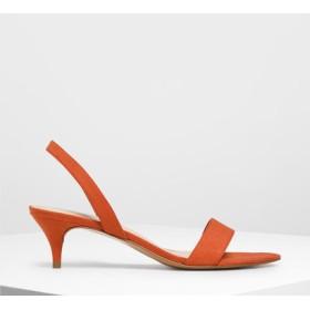 オープントゥ スリングバックキトゥンヒール / Open Toe Slingback Kitten Heels (Red)