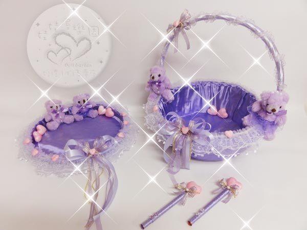 娃娃屋樂園~紫色情人蕾絲喜糖籃盤6件組 每組1500元/喜糖籃/簽名筆/婚禮小物/二次進場