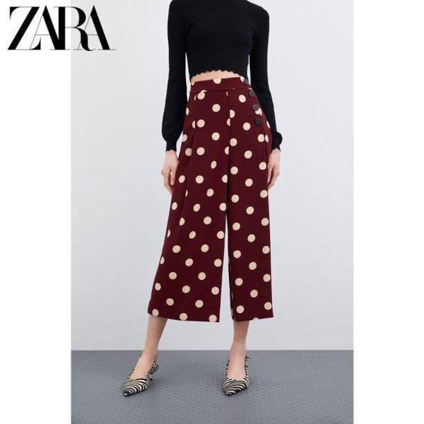 闊腿褲 ZARA新款 TRF 女裝 九分波點及踝褲寬鬆闊腿褲 04432175686 星河光年
