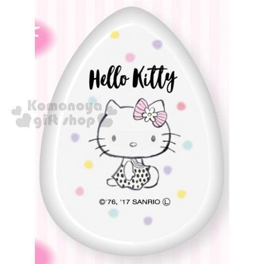〔小禮堂〕Hello Kitty 水滴型矽膠粉撲《透明.洋裝.側坐.彩色點點》BB.CC霜.粉底液專用 4522654-05551