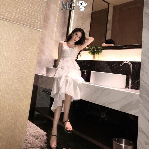 洋裝 蕾絲 韓版 甜美 可愛 層層蛋糕裙 中長款 V領吊帶裙 收腰 連身裙 黑白兩色