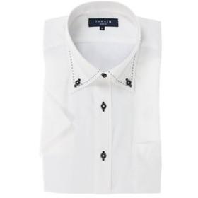 【TAKA-Q:トップス】形態安定スリムフィットドゥエボタンダウン ハンドステッチ半袖ビジネスドレスシャツ