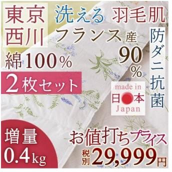 肌掛け布団 シングル 西川産業 東京西川 2枚まとめ買い 夏 洗える フランス産ホワイトダウン90% 0.4kg 羽毛掛け布団 肌布団
