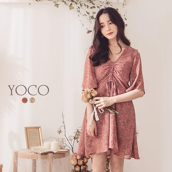 東京著衣【YOCO】YOCO-氣質美人碎花可調式抽繩造型洋裝-S.M.L(190460)