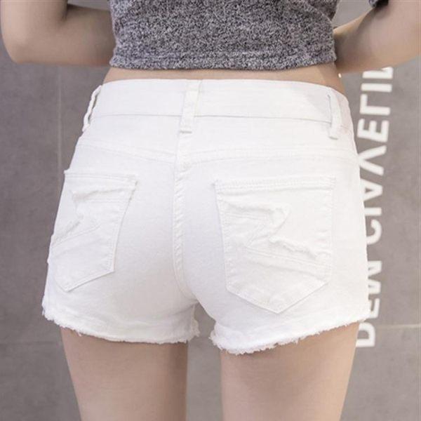 低腰白色毛邊棉彈牛仔短褲女夏季彈力修身顯瘦破洞簡約熱褲超短褲 全館免運