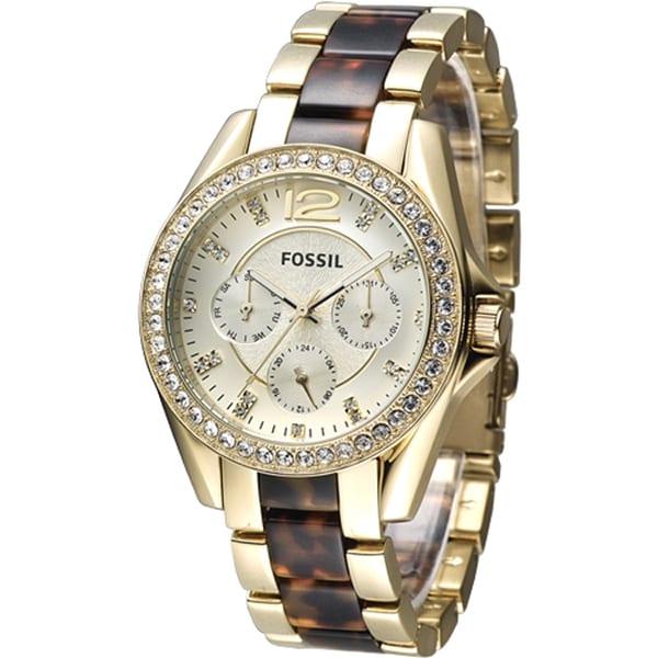 FOSSIL Riley璀璨年代三眼時尚女錶 玳瑁金 ES3343