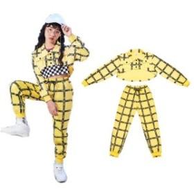 キッズ ダンス 衣装 ダンス 衣装 ヒップホップ 子供 ヒップホップ ダンクトップ シャツ イエローパンツ チェック衣装 女の子 ダンス衣装