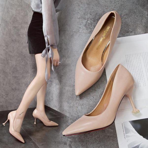 裸色高跟鞋女細跟性感貓跟鞋尖頭單鞋中跟春季百搭工作鞋 巴黎時尚