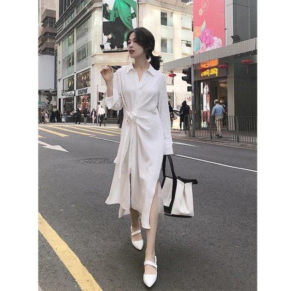 Princessxshop襯衫連衣裙收腰系帶襯衣裙DL1903066正韓洋裝一字領露肩性感