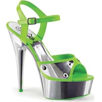 プリーザー レディース サンダル シューズ Delight 609NC Ankle Strap Sandal Neon Green Patent/Silver Chrome