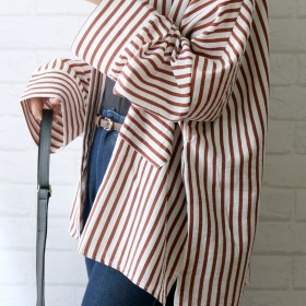 シャツ - LADY LIKE 【Lady like】ストライプビッグシャツ トップス シャツ ストライプ ゆったり 大きい BIG 長袖 綿 カジュアル 羽織