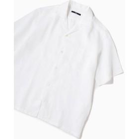 シップス SC: リラックスシルエット ラミー オープンカラーシャツ メンズ オフホワイト LARGE 【SHIPS】
