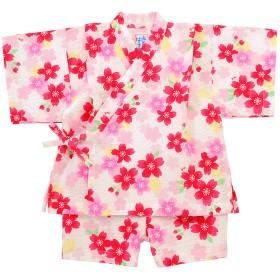 【アウトレット】【ミキハウス】女の子用 さくらいっぱい甚平スーツ 白