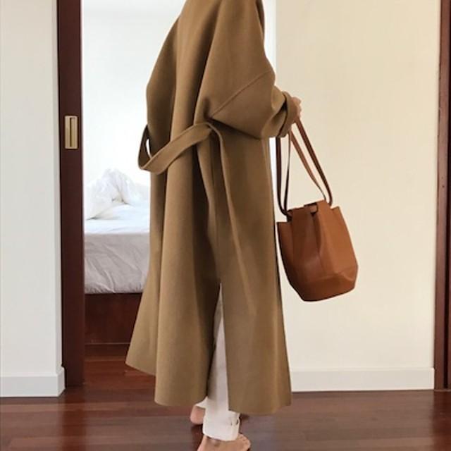 韓国ファッションノーカラーフェイクウールコート コート ジャケット 可愛い 長袖 ロング丈 スタジアムジャンパー ブルゾン ジャンパー