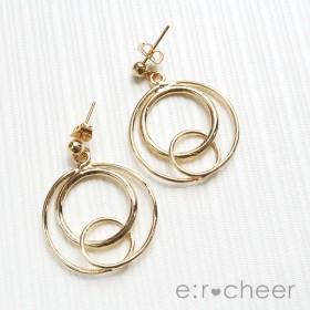 ピアス - e:r cheer メタルリングピアス/ゴールド 大振りピアス シンプル 上品 ブランドアクセサリー プレゼント 大人 レディース 女性