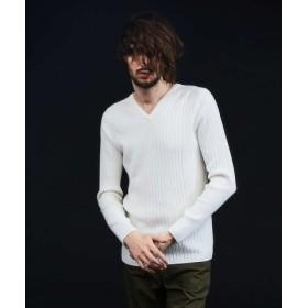 (5351POUR LES HOMMES/5351プール・オム)【新作】ワイドリブホールガーメントVネックニット/メンズ ホワイト