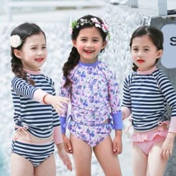 長袖子供水着ビキニ女の子キッズベビー上下セットラッシュガード夏UVカット紫外線対策可愛い水泳セパレートスイムウエアビーチ温泉/海水