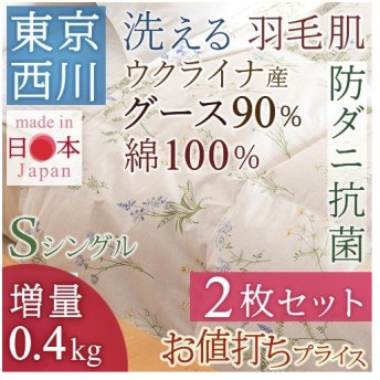 肌掛け布団 シングル 東京西川 西川産業 2枚まとめ買い ウクライナ産グースダウン90% 夏 洗える 肌布団