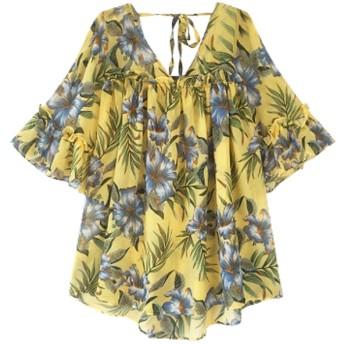 シャツ - tiara ブラウス レディース オフショルダー 透け感 春 夏 きれいめ リゾート 旅行 とろみブラウス 花柄 半袖 トップス かわいい
