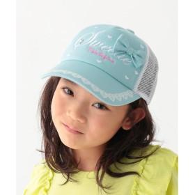 キャップ - 3can4on GIRLSハート刺繍メッシュキャップ