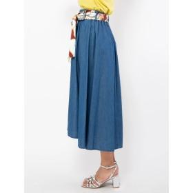 ロングスカート - CECIL McBEE スカーフ付きフレアスカート