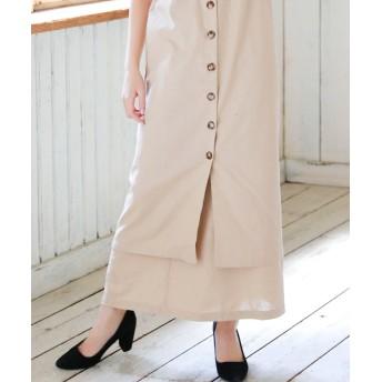 シルキー 麻混マキシ台形スカート レディース ベージュ FREE 【Silky】