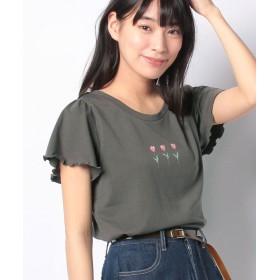 レトロガール 花モチーフpt Tee レディース ダークグレー M 【RETRO GIRL】