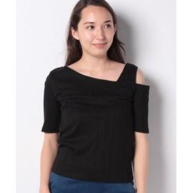 (Lilou de chouchou/リルデシュシュ)テレコ変形襟半袖Tシャツ/レディース ブラック