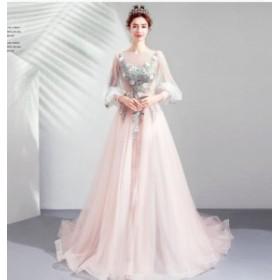 ピンク花嫁ウェディングドレス/結婚式礼服/パーティードレス/ワンピース/ドレス ロングスカート/イブニングドレス/披露宴/レース花飾り