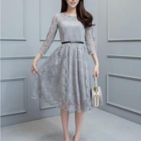 ワンピース ドレス 大きいサイズ 膝丈 パーティドレス フォーマル 発表会 入学式