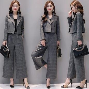 韓国ファッション セットアップ レディース パンツスーツ ワイドパンツ パンツドレス 結婚式 入学式 スーツ ママ パンツスーツ ビジネス