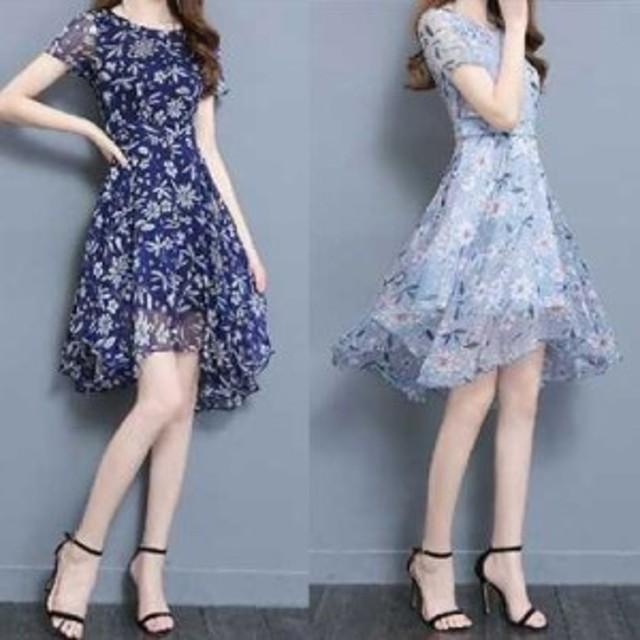 春 夏 シフォン ワンピース ドレス 透け感 花柄 半袖  膝丈KR-5-012