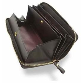 牛革 長財布 ラウンドファスナー ギャルソンウォレット 大きく開く 小銭入れ メンズ レディース ブラック 改良型(ブラック(改良型))