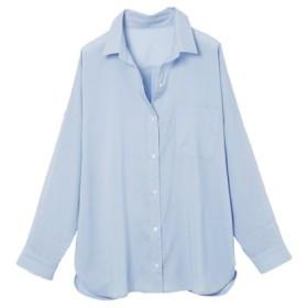 (Ranan/ラナン)襟抜きオーバーサイズシャツブラウス/レディース ブルー