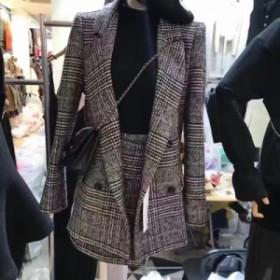 ツーピース グレンチェック柄 ダブルブレスト ラップスカート ミニ丈 オフィス ジャケットスーツ レディース