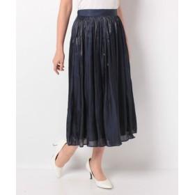 (allureville/アルアバイル)プラチナ割繊サテンギャザースカート/レディース ネイビー 送料無料