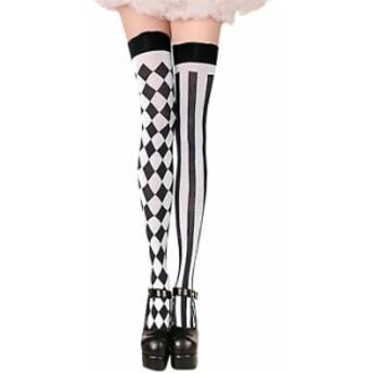 コスプレ 靴下 MIX チェック ストライプ ニーハイ ハロウィン 衣装 socks603