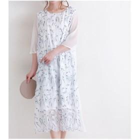 ワンピース - Sawa a la mode 爽やか刺繍柄のチュールワンピース ワンピース スカート ドレス 重ね着 チュール 柄 刺繍 レース 透け生地 シフォン ホワイト 白夏 七分袖 ミディアム丈 可愛い 綺麗め お洒落 40代 50代 60代 レディースファッション サワ