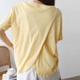 Tシャツ - VIVID LADY ロゴ入りtシャツ レディース 半袖 切り替えトップス トップス レディース コットン tシャツ ロゴ入り切り替えトップスグルーネック綿100% 半袖 tシャツ 夏 トップス