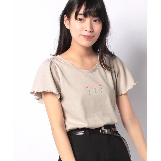 レトロガール 花モチーフpt Tee レディース ライトブラウン M 【RETRO GIRL】