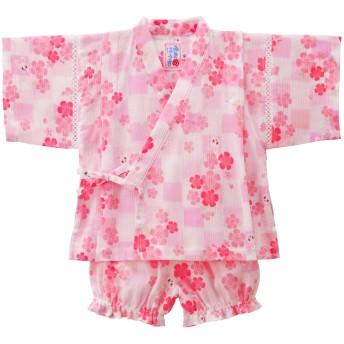 ミキハウス 【アウトレット】さくら&市松柄 うさこ甚平スーツ ピンク